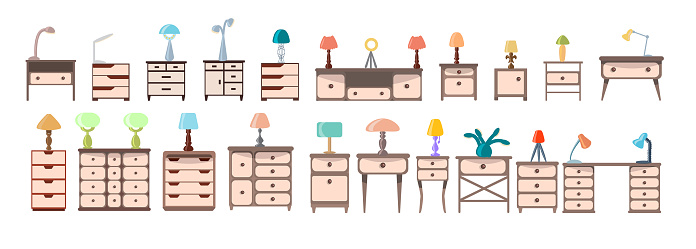 A set of cute nightstands, dressers, bureaus with electric table lights isolated on a white background. Collection of modern furniture and lamps for bedroom, office. Vector illustration in flat style.