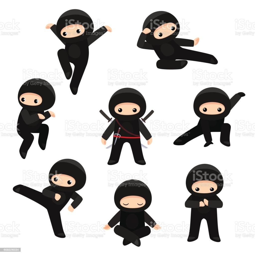 Set of cute ninjas in various poses isolated on white background vector art illustration