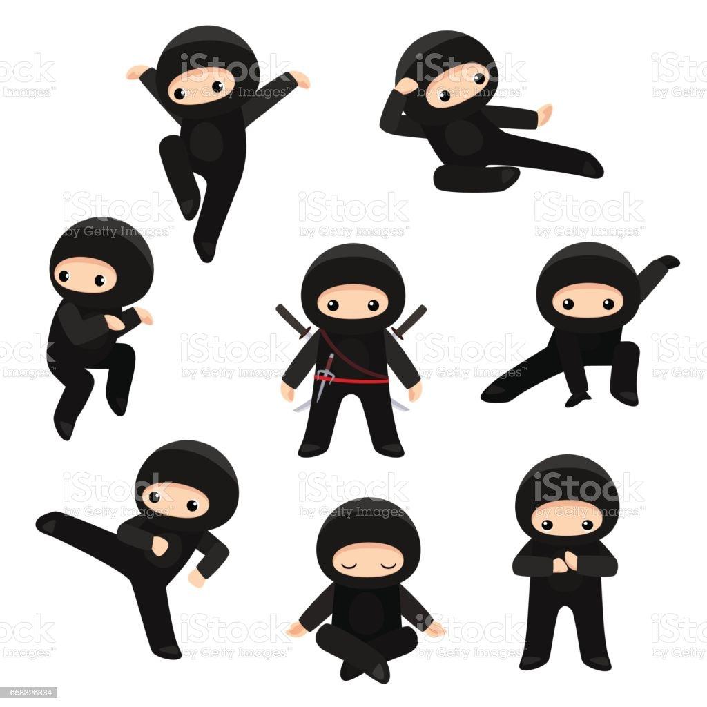 Conjunto de giros ninjas em várias poses, isolados no fundo branco - ilustração de arte em vetor