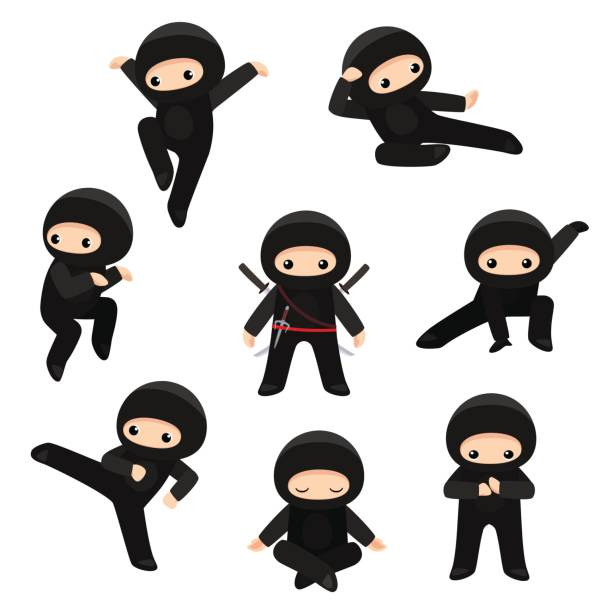 set of cute ninjas in various poses isolated on white background - martial arts stock illustrations