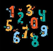 Set of cute number characters with cute animals and elements on black background. One, two, three, four, five, six, seven, eight, nine, zero. Vector illustration. For kids design and decoration.