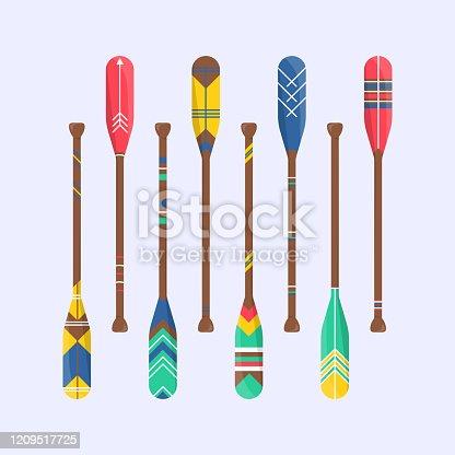 istock Set of cute oar paddle boat in cartoon 1209517725