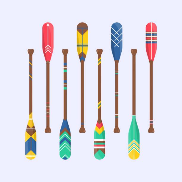 stockillustraties, clipart, cartoons en iconen met reeks leuke boot van de roeispaan in beeldverhaal - paddle