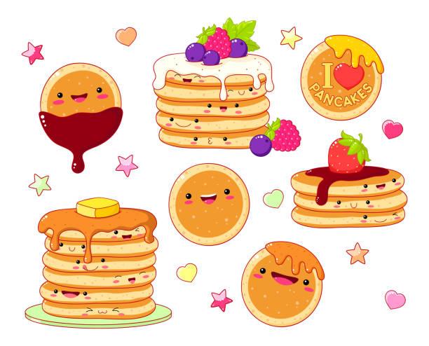 可愛いスタイルのキュートなパンケーキアイコンのセット - パンケーキ点のイラスト素材/クリップアート素材/マンガ素材/アイコン素材