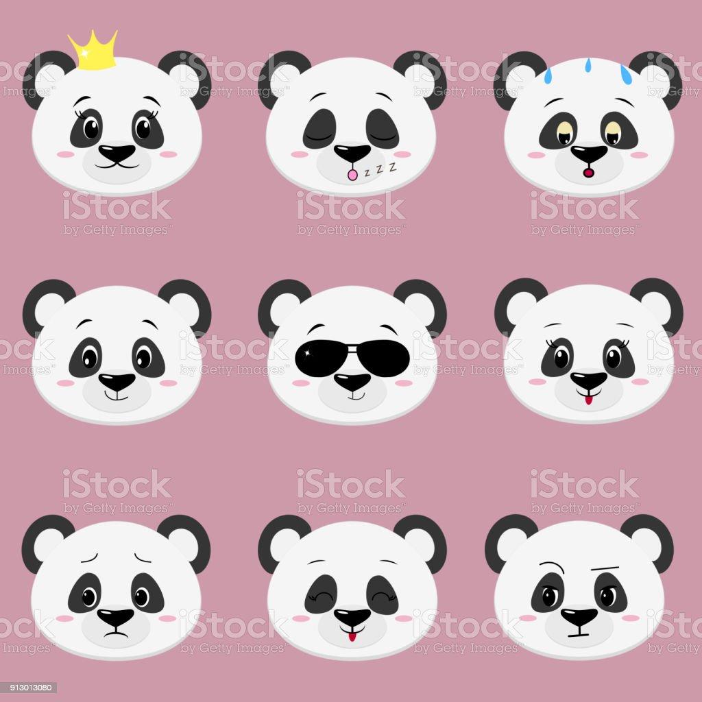 Ilustración De Juego De Cara De Oso Panda Lindo Emociones Diferentes