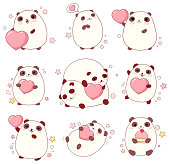 Happy Valentine's day. Collection of cute pandas with pink hearts in kawaii style. EPS8