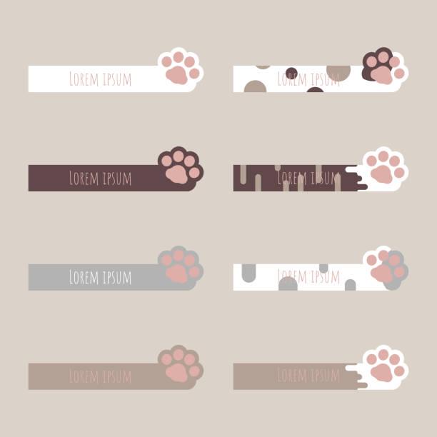 stockillustraties, clipart, cartoons en iconen met set van cute pastel tekstvak, speech bubble, ballon, praten, denken, banner frame met dier pet cat paw footprint - miauwen