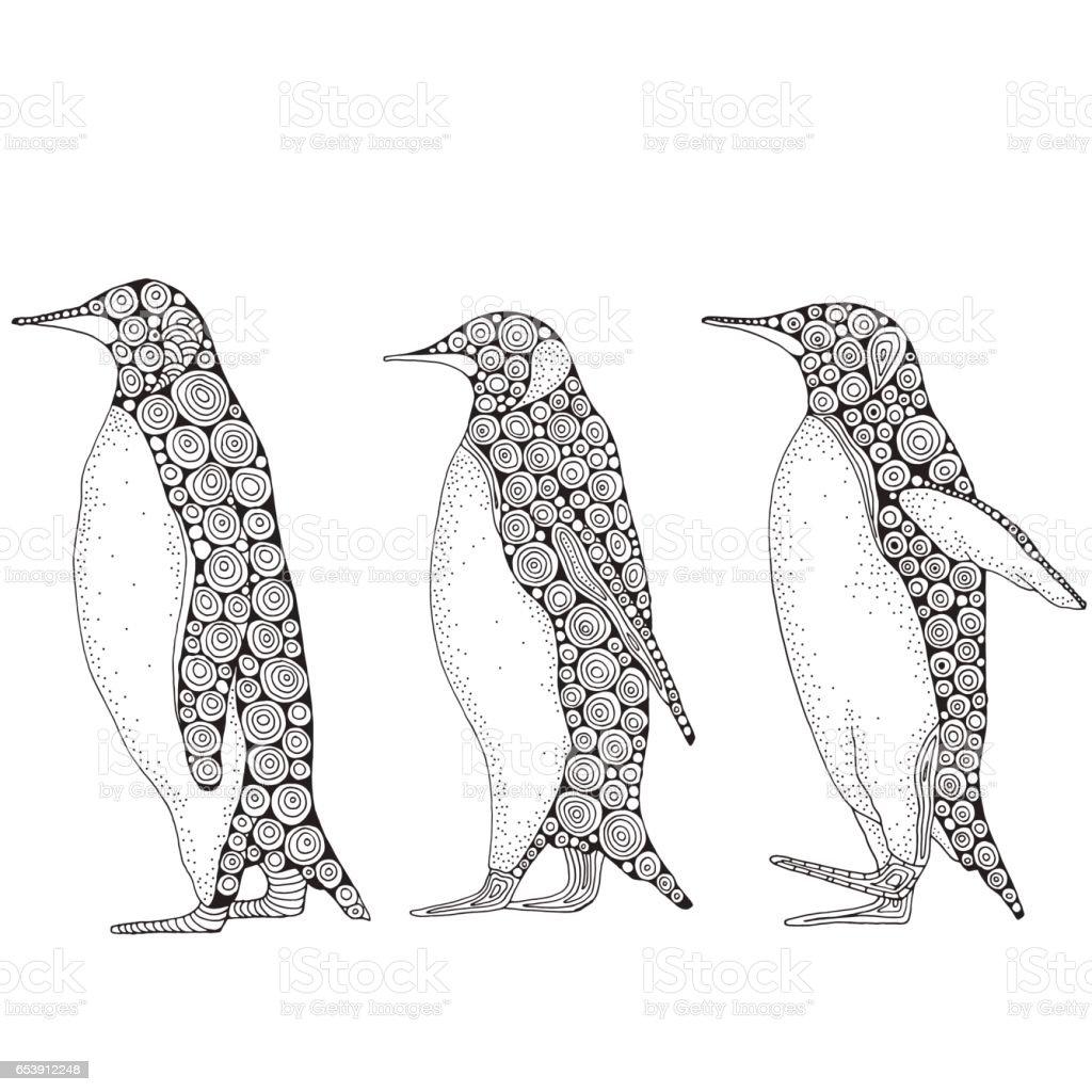 Sevimli Penguen Kümesi Stok Vektör Sanatı Antarktikanin Daha