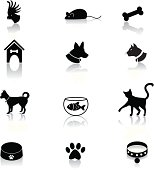 Set of cute pet accessory icons