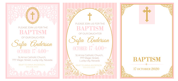 A set of cute pink templates for Baptism invitations. Vintage rose lace frame with golden cross.