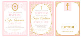 istock A set of cute pink templates for Baptism invitations. Vintage rose lace frame with golden cross. 1184672393