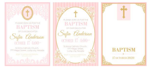 ilustraciones, imágenes clip art, dibujos animados e iconos de stock de un conjunto de lindas plantillas rosas para invitaciones de bautismo. marco de encaje rosa vintage con cruz dorada. - bautizo