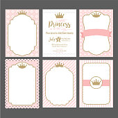 A set of cute pink templates for invitations. Vintage gold frame with crown. A little princess party.