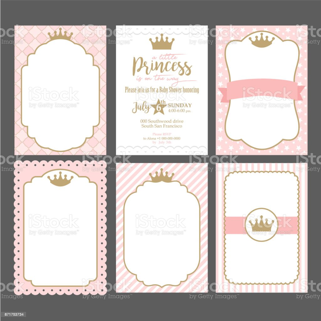 A set of cute pink templates for invitations. Vintage gold frame with crown. A little princess party. vector art illustration