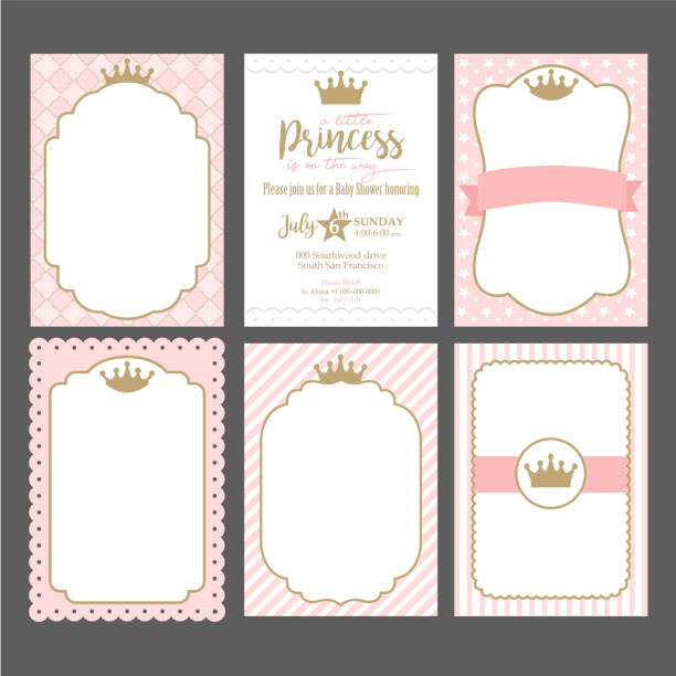A set of cute pink templates for invitations. Vintage gold frame with crown. A little princess party. Baby shower, wedding, girl birthday invite card. Can be used for printing in A5 paper. birthday borders stock illustrations