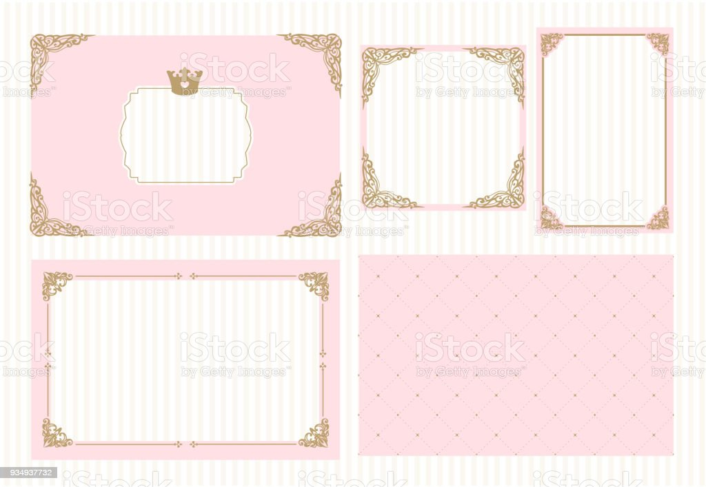 A Set Of Cute Pink Templates For Invitationsvintage Gold Frame With ...
