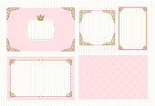 A set of cute pink templates for invitations.Vintage gold frame with crown. A little princess party.