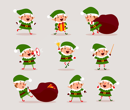 Set of cute playful Christmas elves. Collection of cute Santa Claus helpers. Happy New Year, Merry Xmas design element. Good for card, banner, flayer, leaflet, poster. Vector clipart