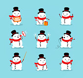 A set of cute playful snowmen. Elements from the Christmas collection of characters. Happy New Year, Merry Xmas design element. Good for congratulation card, banner, flayer, leaflet, poster. Vector illustration