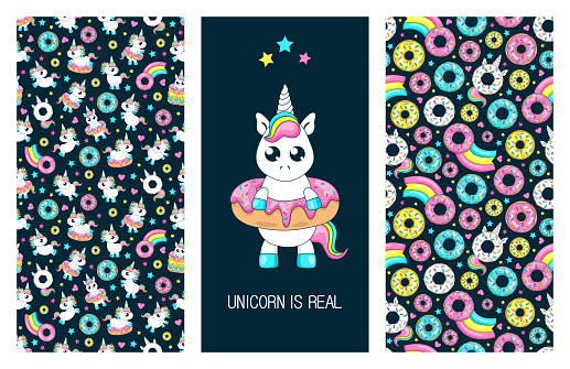 Set of cute posters. Baby unicorn playing with donuts.Fairytale seamless pattern. Donut unicorn with white  glaze and rainbow tail, pink, blue mint and yellow lemon donuts, pink comet with rainbow