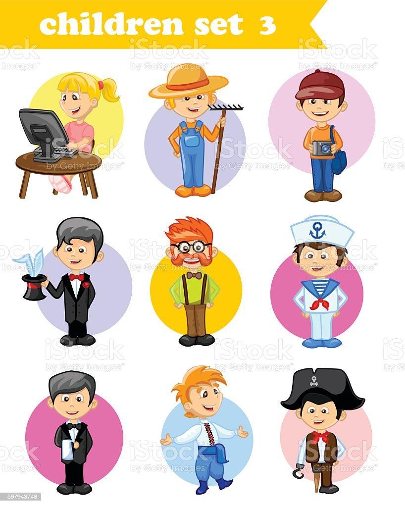 Set of cute profession characters ilustração de set of cute profession characters e mais banco de imagens de adulto royalty-free