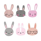 Set of cute rabbits. Funny doodle animals. Little bunny in cartoon style. Vector illustration