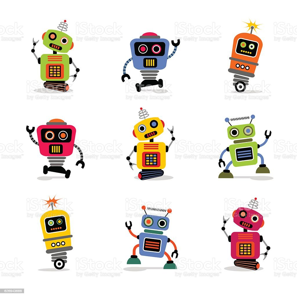 set of cute retro robots to use in your designs vector art illustration