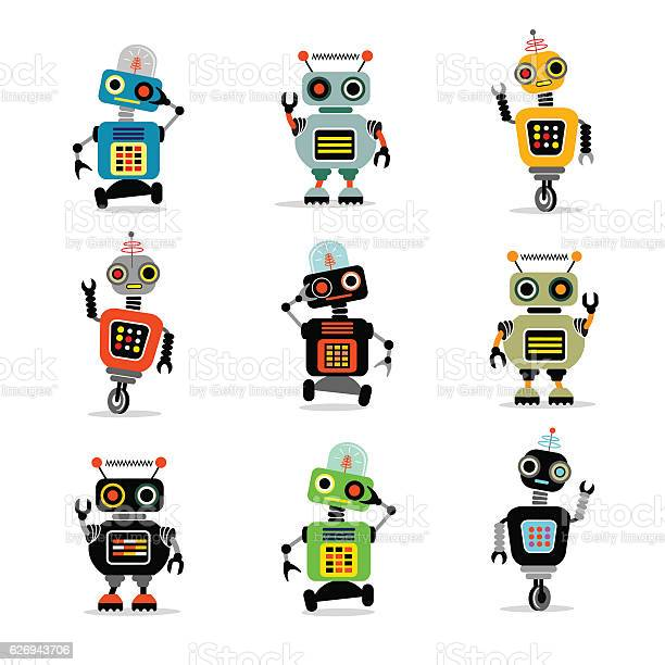 Set of cute retro robots to use in your designs vector id626943706?b=1&k=6&m=626943706&s=612x612&h=pn qb sy g6k8ft3pm5t8u7ndcqkn0nydcgkwnkyrhi=