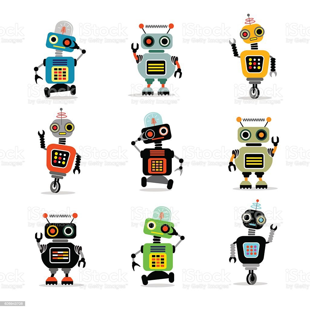 set of cute retro robots to use in your designs - ilustración de arte vectorial