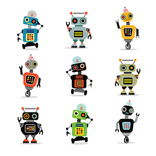 set of cute retro robots to use in your designs - robotics stock illustrations, clip art, cartoons, & icons