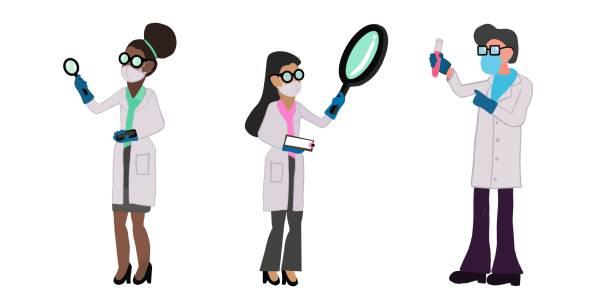 ilustrações de stock, clip art, desenhos animados e ícones de set of cute scientists wearing protective face mask due to coronavirus pandemic - afro latino mask
