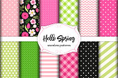 Set of cute seamless Hello Spring patterns ideal for kitchen textile or bed linen fabric or interior wallpaper design, can be used for wrapping or scrap booking paper etc