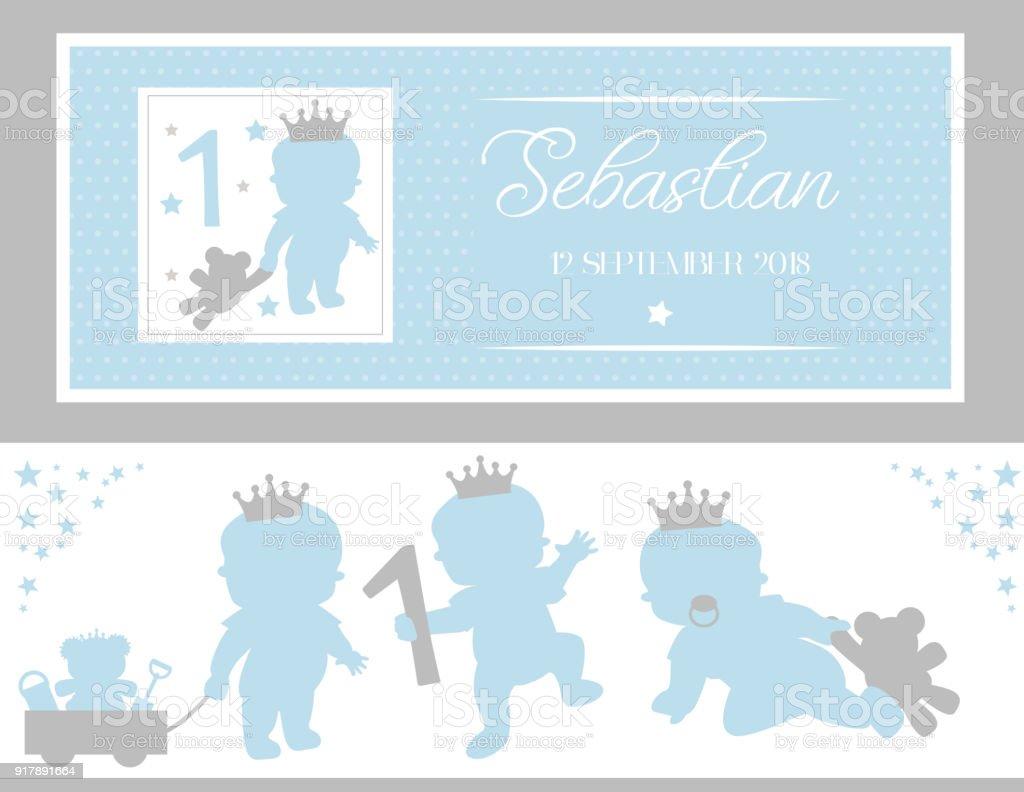 Satz von niedlichen Silhouetten. Kleine Prinz Party (Baby-Dusche, Taufe, Geburtstag) – Vektorgrafik