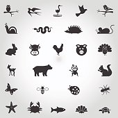 Set of cute simple animal icons on white background