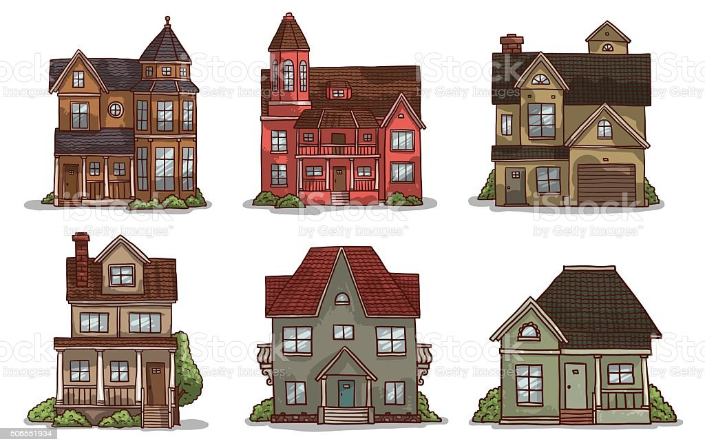 set of cute small houses royalty free set of cute small houses stock vector art - Cute Houses Pictures