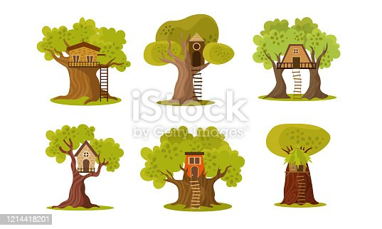 Collection set of cute small tree houses built in the branches of a tree for children to play in. Isolated icons set illustration on a white background in cartoon style.