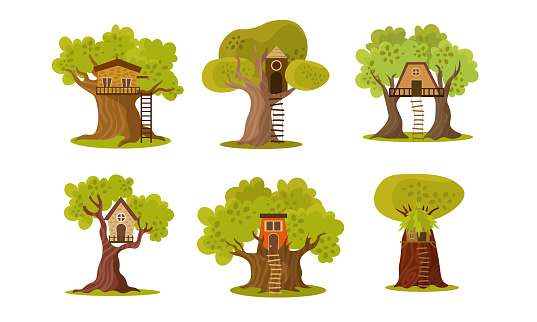 Set of cute small tree houses. Vector illustration in flat cartoon style.