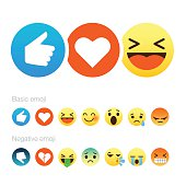 Set of cute smiley emoticons, emoji flat design, vector illustration.