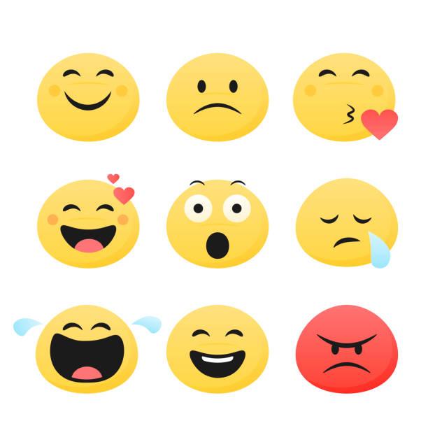 set von niedlichen smiley-emoticons, flaches design, vektorillustration - smileys zum kopieren stock-grafiken, -clipart, -cartoons und -symbole
