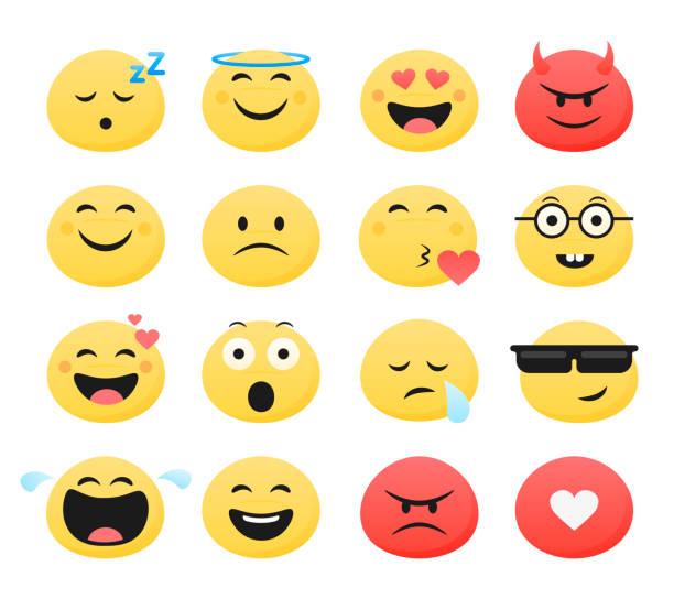 satz von niedlichen smiley emoticons, flaches design, vektor-illustration - smileys zum kopieren stock-grafiken, -clipart, -cartoons und -symbole
