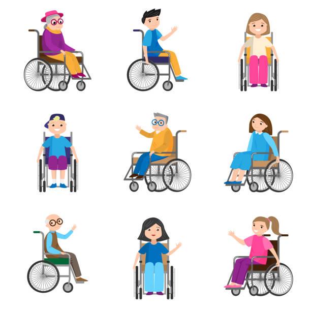 휠체어에 모션 장애가있는 귀여운 웃는 사람의 세트 - 몰도바 stock illustrations