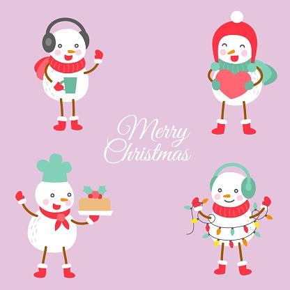 set of cute snowman doodle illustration in flat design.