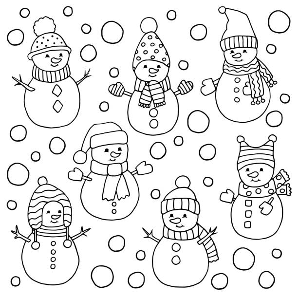 699 Snowman Coloring Pages Illustrations Clip Art Istock