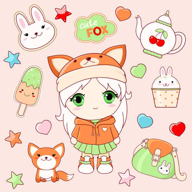 set of cute stickers in kawaii style - anime girl stock illustrations