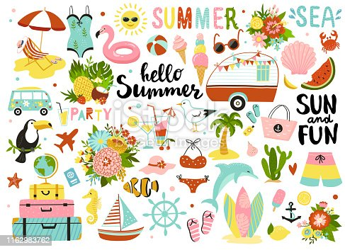 Set of cute summer elements.