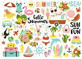 かわいい夏の要素のセット。