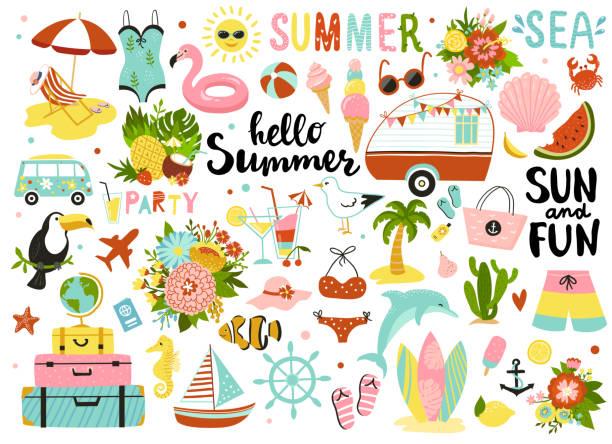 ilustraciones, imágenes clip art, dibujos animados e iconos de stock de conjunto de lindos elementos de verano. - verano