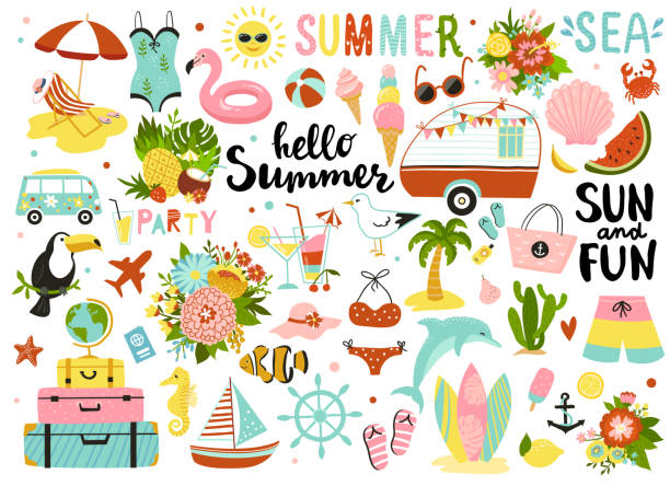 Set of cute summer elements. Set of cute summer elements: sun, palm tree, beach umbrella, calligraphy, tropical flowers and birds. Perfect for summertime poster, card, scrapbooking , tag, invitation, sticker kit.  Hand drawn vector illustration summer stock illustrations