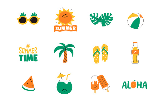 Set of cute summer icon : Sun, Beach ball, Slipper, Sunglass, food, drinks, palm leaves, fruits. Bright summertime poster. Collection of scrapbooking elements for beach party. doodle line, flat Vector