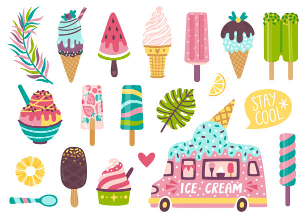 ilustrações de stock, clip art, desenhos animados e ícones de set of cute summer icons: different ice cream, popsicles, fruit ice and ice cream truck. bright summertime poster with sweet food. collection of scrapbooking elements for summer party. - ice cream